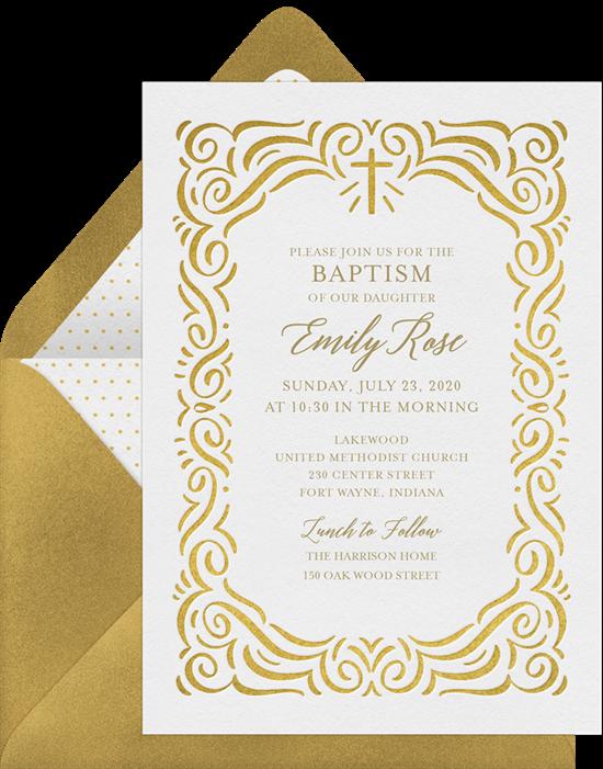 Border Cross baptism invitations from Greenvelope