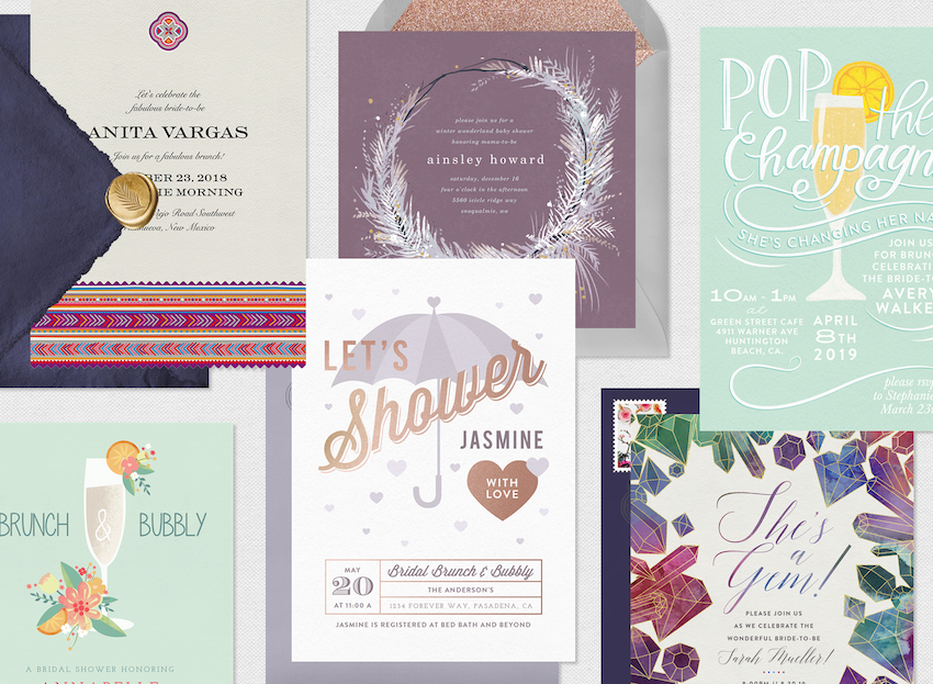 Bridal shower ideas: six different themed shower invitations
