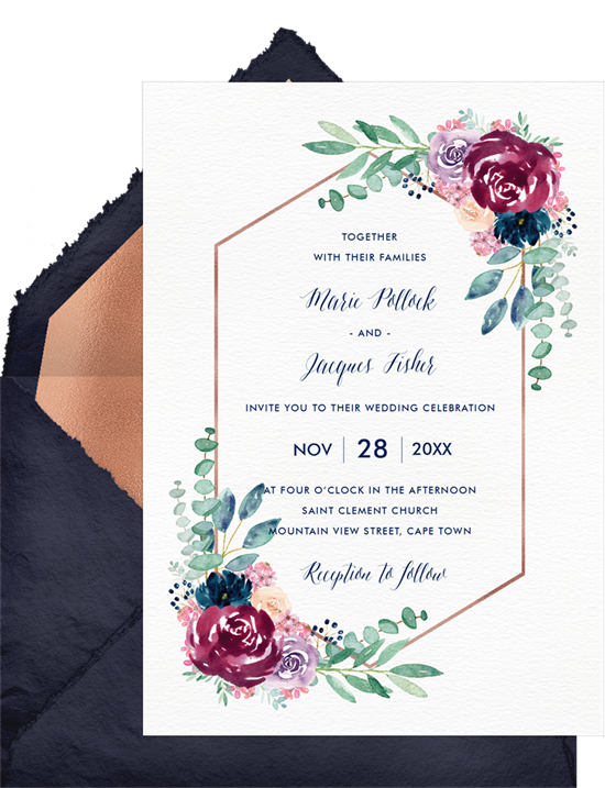 Floral, terrarium-inspired wedding invitation examples with text surrounded by a rose gold hexagon and watercolor flowers