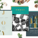 Three different designs for business Christmas cards, surrounded by pinecones and greenery