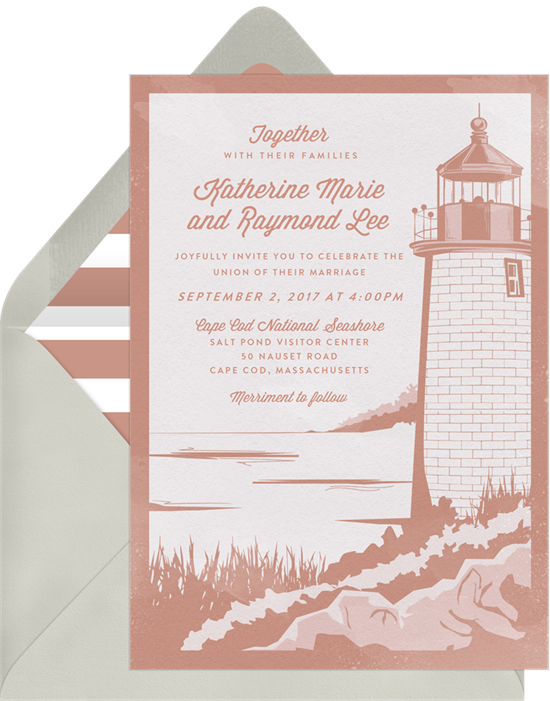 Beach wedding invitations: the Cape Cod invitation design from Greenvelope