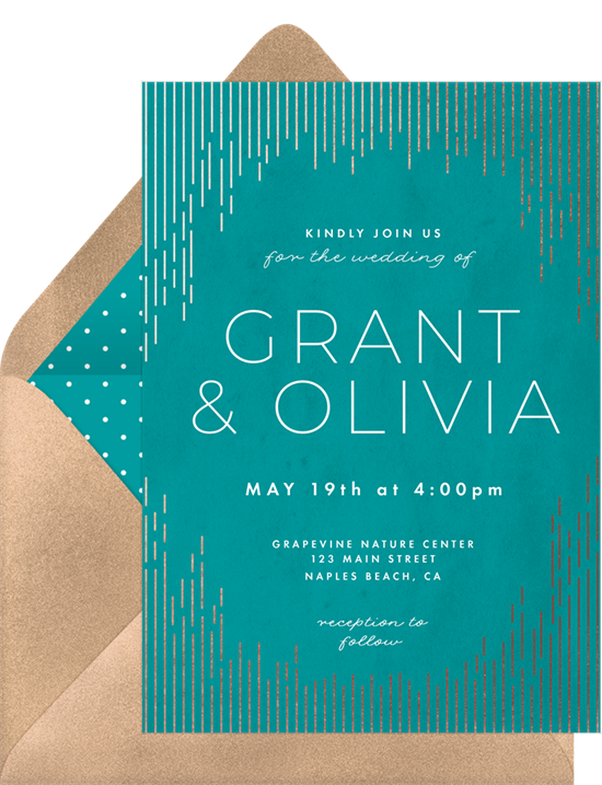 Brightly colored wedding invitation examples with silver-foil accents and modern typography