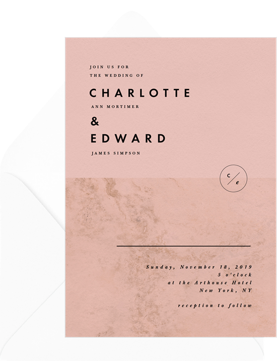 Pink and marble modern digital wedding invitations with digital envelope