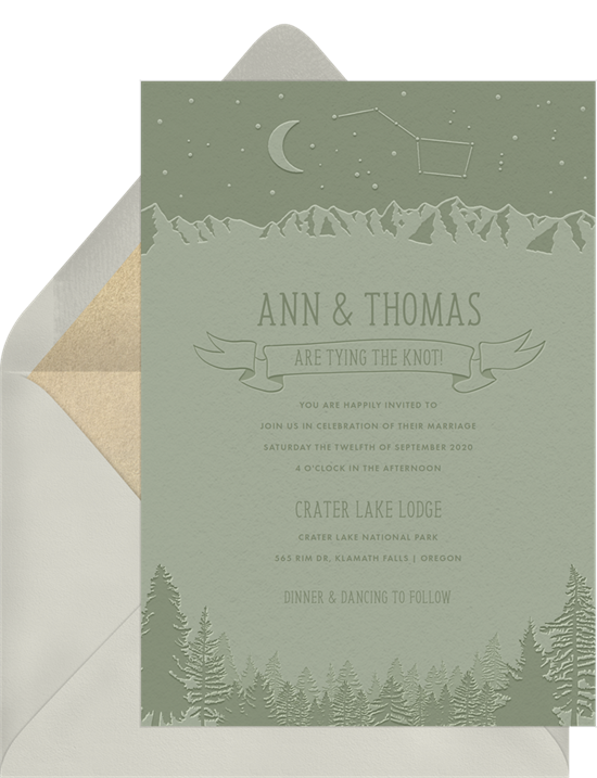 A Crater Lake-themed invitation with informal wedding invitation wording