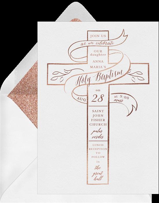 Cross Ribbon baptism invitations from Greenvelope
