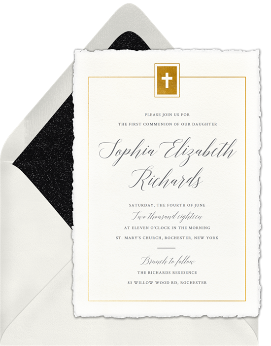 The Deckled Edge Cross First Communion Invitations from Greenvelope