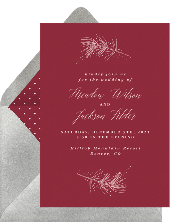 A red, winter-themed invitation with informal wedding invitation wording