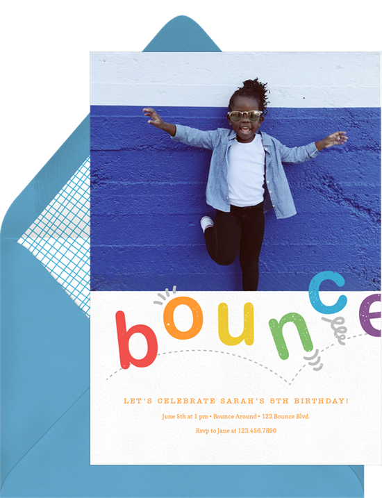 1st birthday invitations: the Double Bounce photo invitation design from Greenvelope