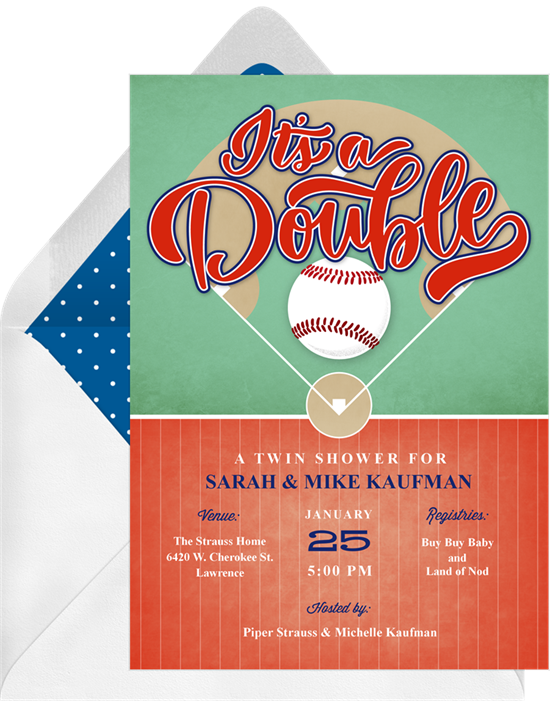Baby shower invitations for boys: The Double Header invitation design from Greenvelope