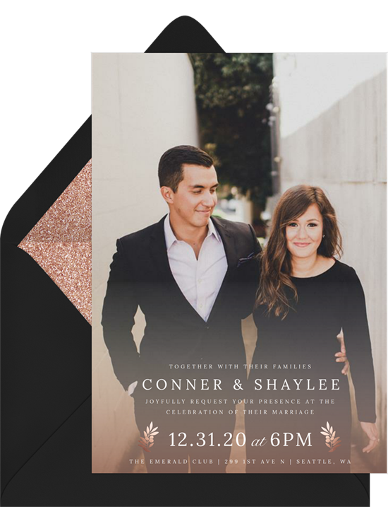 Photo wedding invitation examples with a full-bleed photo and modern text