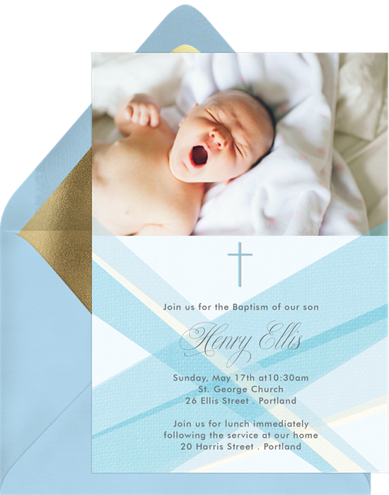 Enlightened Announcements baptism invitations from Greenvelope