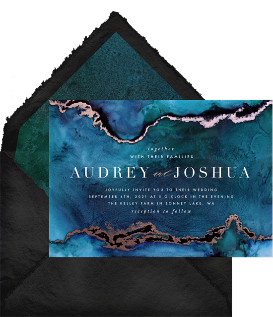 Abstract wedding invitation examples with dark blue alcohol ink suggesting the ocean