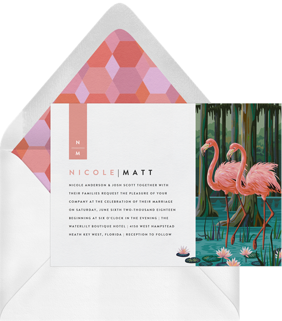Beach wedding invitations: the Everglades invitation design from Greenvelope