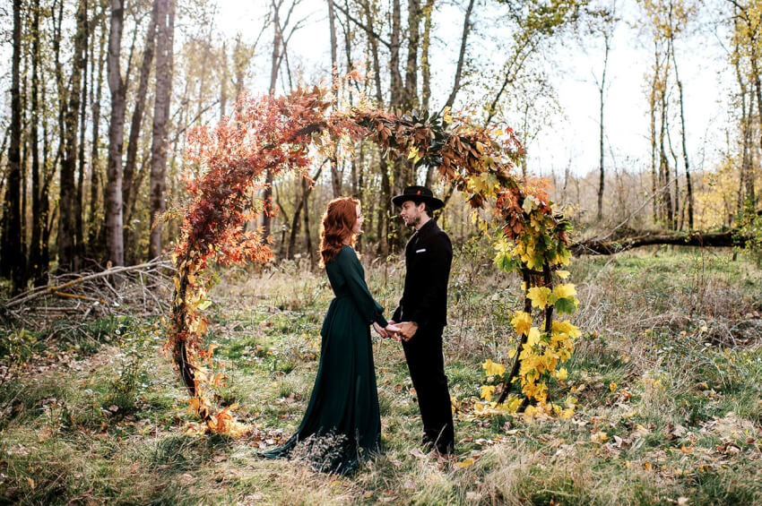 fall wedding ceremony backdrop seasonal