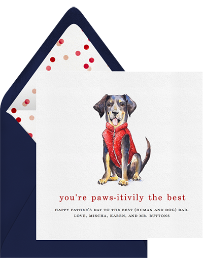 """You're Paws-itively the Best"" funny father's day cards from Greenvelope"