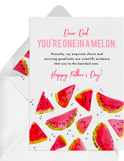"""You're One in a Melon"" funny father's day card from Greenvelope"