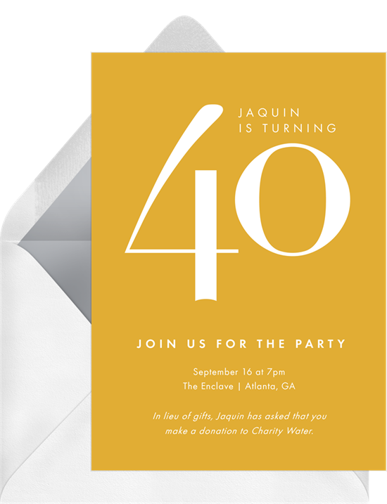 Yellow birthday invitations online with a giant 40 in the center
