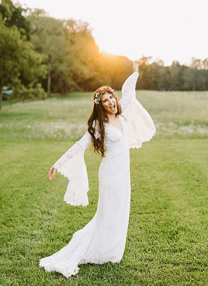 Happy bride wearing floral crown