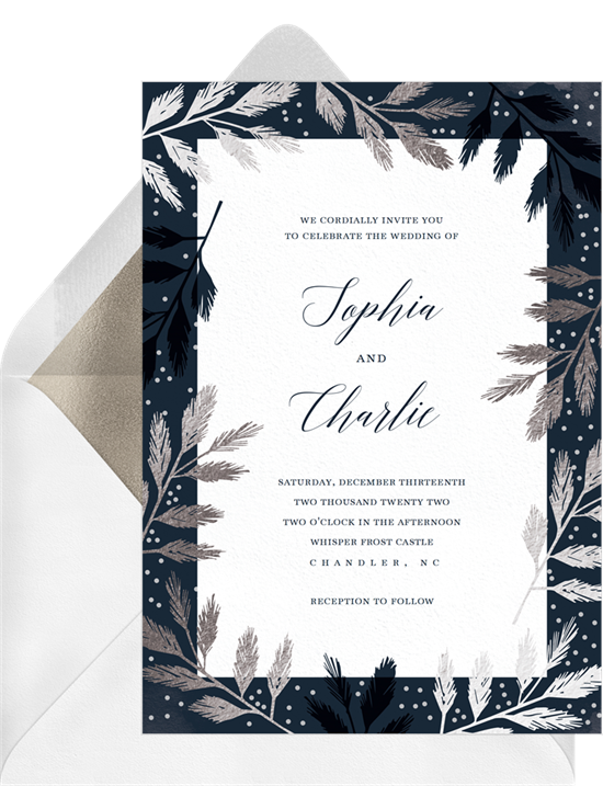 Winter-themed digital wedding invitations with silver branches around the border