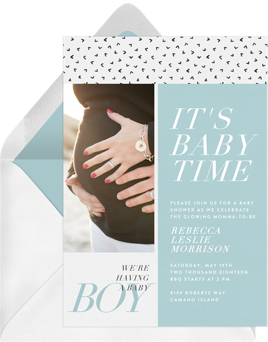 Baby shower invitations for boys: the Fun Sophistication invitation design from Greenvelope