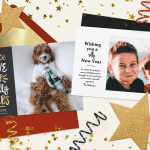 Two funny happy New Year cards surrounded by confetti and stars