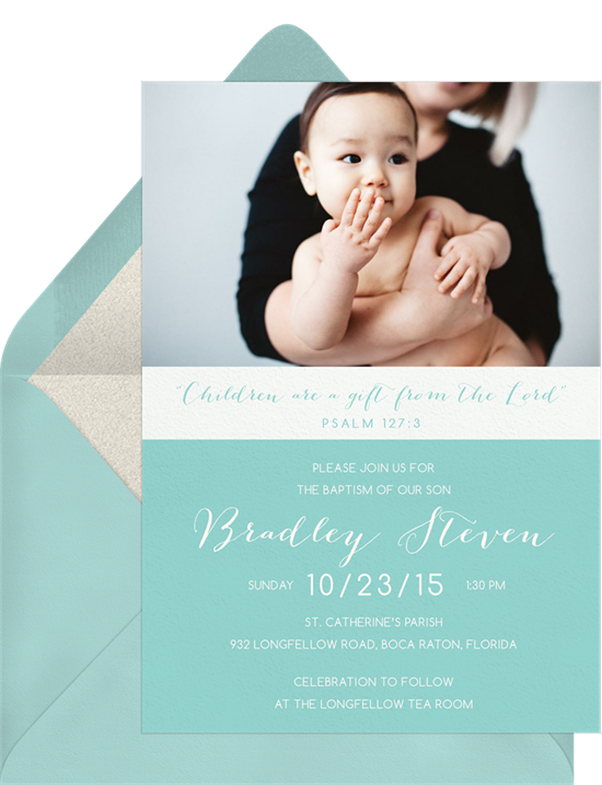 Gift from the Lord baptism invitations from Greenvelope