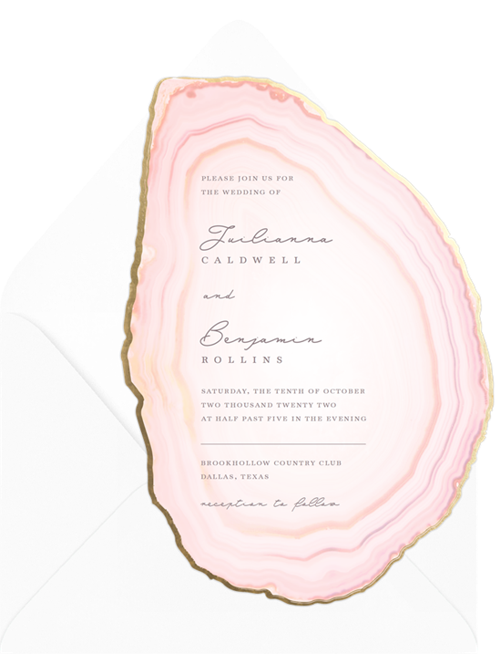Luxurious, modern wedding invitation examples cut out in the shape of an agate slice with a gold-foil border