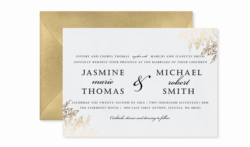 simple gilded branches invitation template