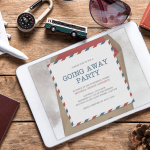 A digital going away party invitation on a tablet, surrounded by a toy plane, lock, and sunglasses