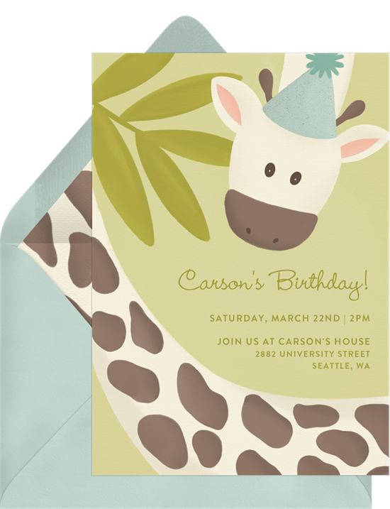 1st birthday invitations: the Gouache Giraffe invitation design from Greenvelope