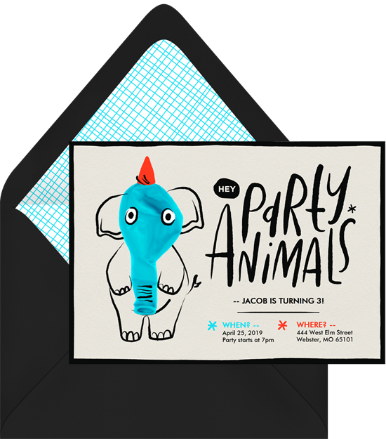 1st birthday invitations: the Hey Party Animals invitation design from Greenvelope