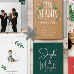 A variety of holiday greeting cards and invitations