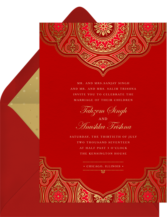 Bold red wedding invitations examples with Indian mandalas