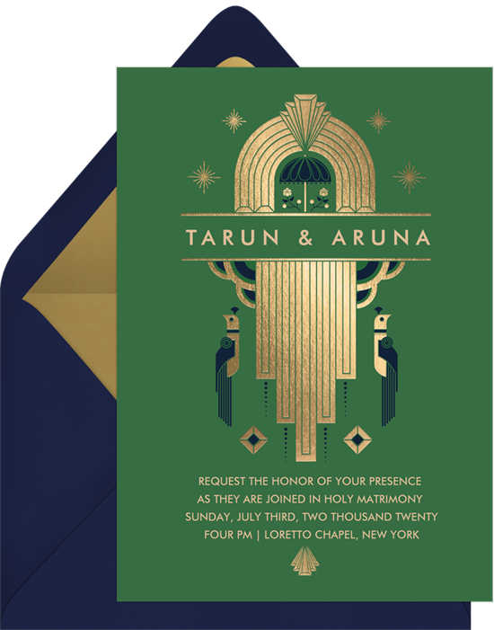 Art Deco wedding invitation examples with a green background and gold accents