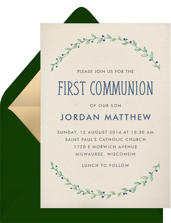 The Laurel Frame First Communion Invitations from Greenvelope