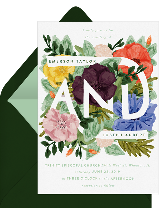 Floral wedding invitation examples with watercolor flowers surrounding the name of the couple