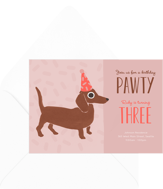 1st birthday invitations: the Lets Pawty invitation design from Greenvelope