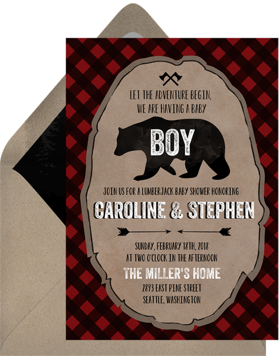 Baby shower invitations for boys: the Little Lumberjack invitation design from Greenvelope