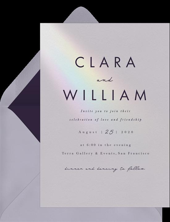 A minimalist wedding invitation with modern typography and wedding invitation wording