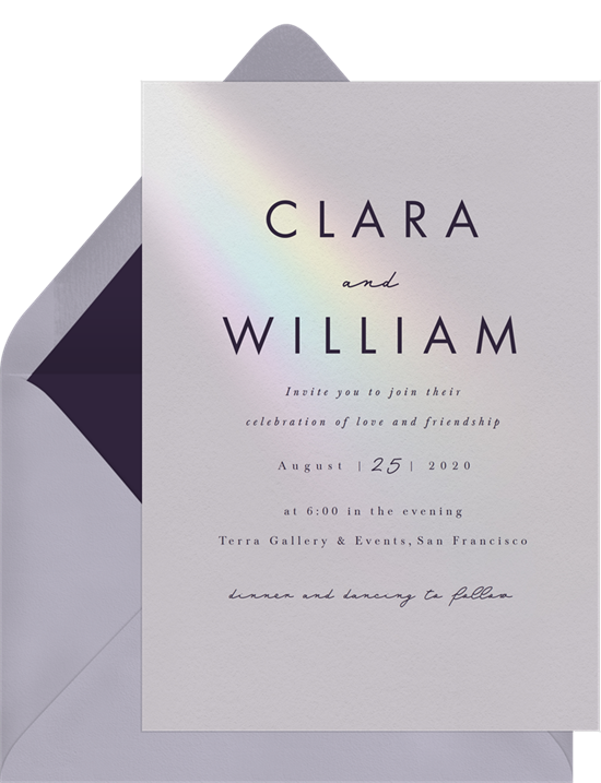 Minimalist wedding wedding invitation examples with modern text and a prism of rainbow-colored light