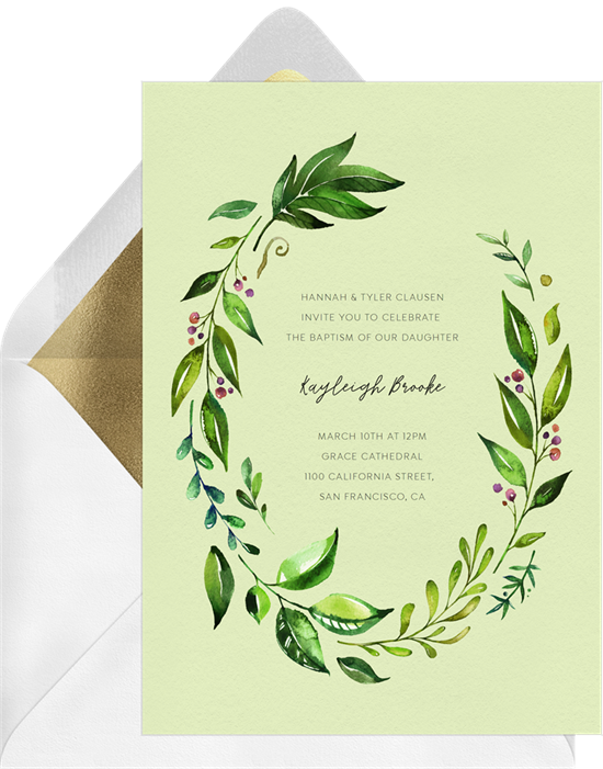 Lovely Leafy Wreath baptism invitations from Greenvelope