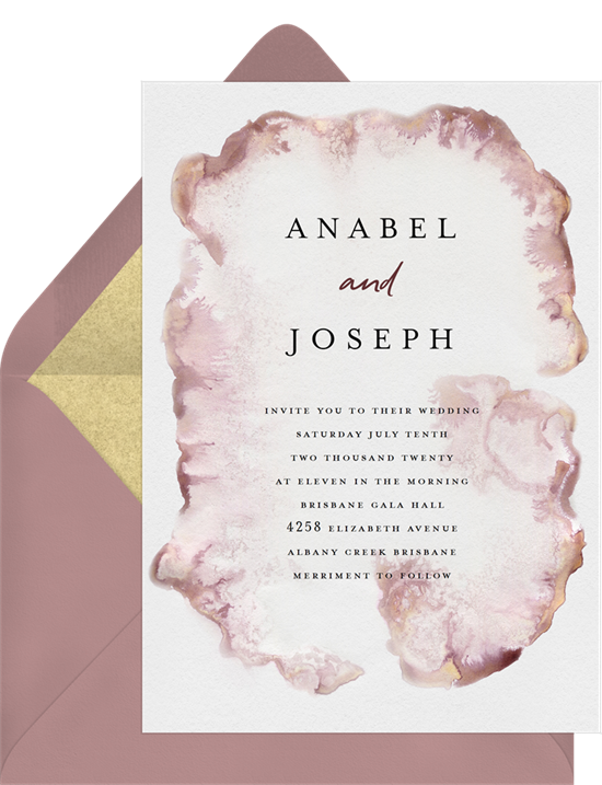 Modern, watercolor wedding invitation examples with a flowing ink-stained border around text