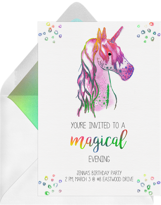 Rainbow-colored birthday invitations online featuring a watercolor unicorn