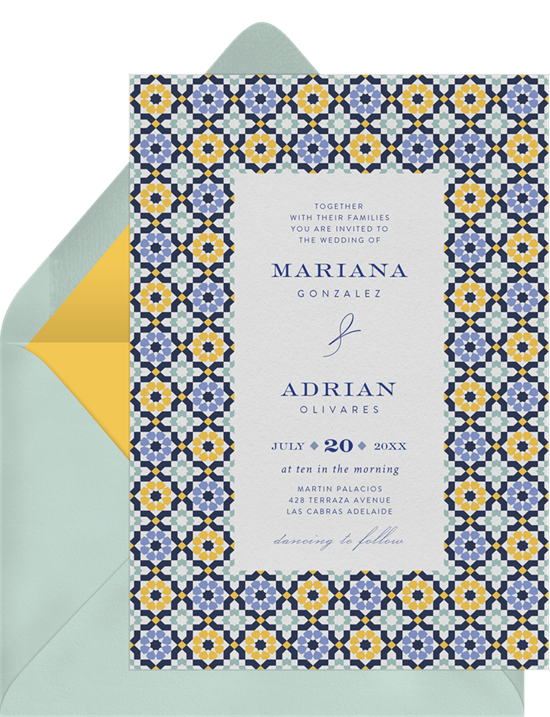 Beach wedding invitations: the Mediterranean Tiles invitation design from Greenvelope
