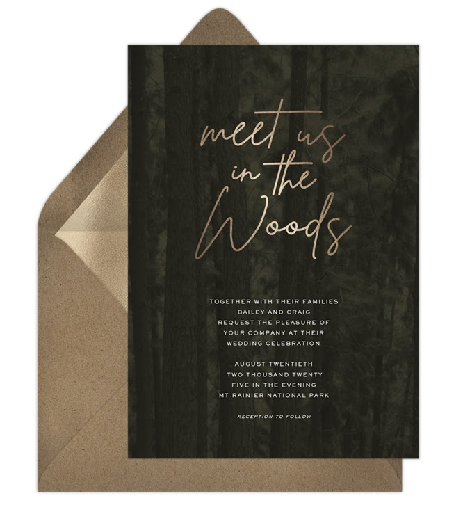 A woodsy invitation with playful wedding invitation wording