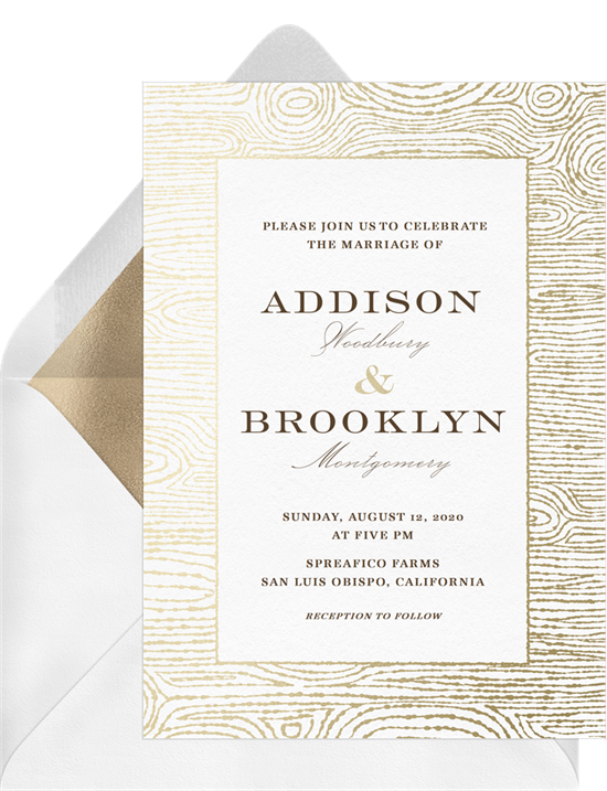 Digital wedding invitations featuring a gold-foil wood grain pattern around a large space for text