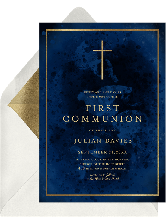 The Modern Cross First Communion Invitations from Greenvelope
