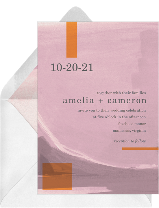 Modern wedding invitation examples with a pink background and orange, geometric accents