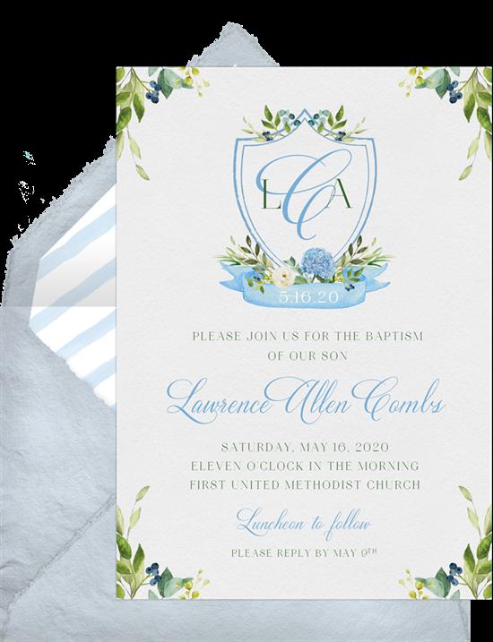 Monogram Crest baptism invitations from Greenvelope
