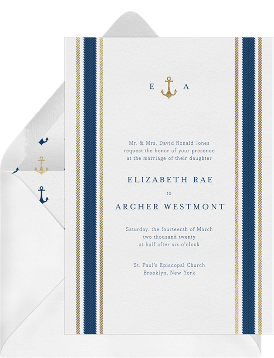 Beach wedding invitations: the Nautical Stripes invitation design from Greenvelope